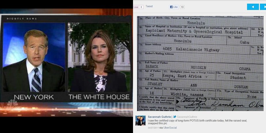 NBC White House Correspondent Savannah Guthrie told Brian Williams that she