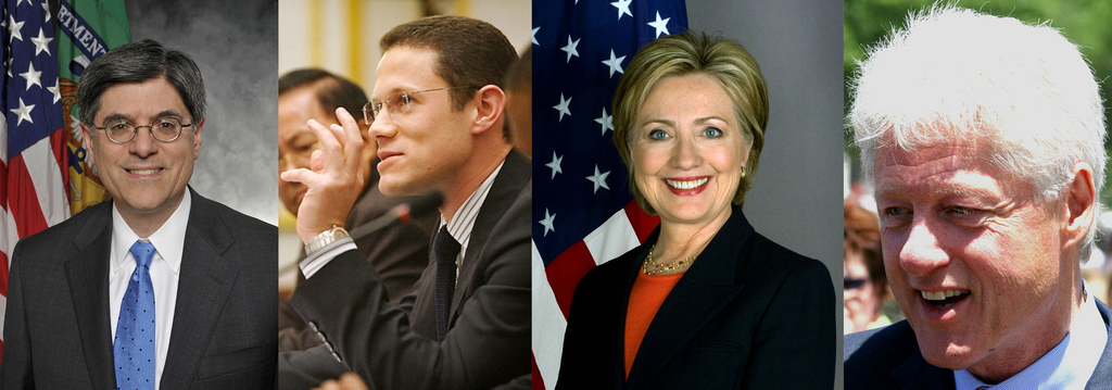 (L to R) Former Special Assistant to President Clinton, former White House Chief of Staff under President Obama and current U.S. Secretary of Treasury Jack Lew, chairman of Gulftainer's executive board Badr Jafar, former Secretary of State Hillary Clinton and former President Bill Clinton (Image credits: Wikimedia Commons)