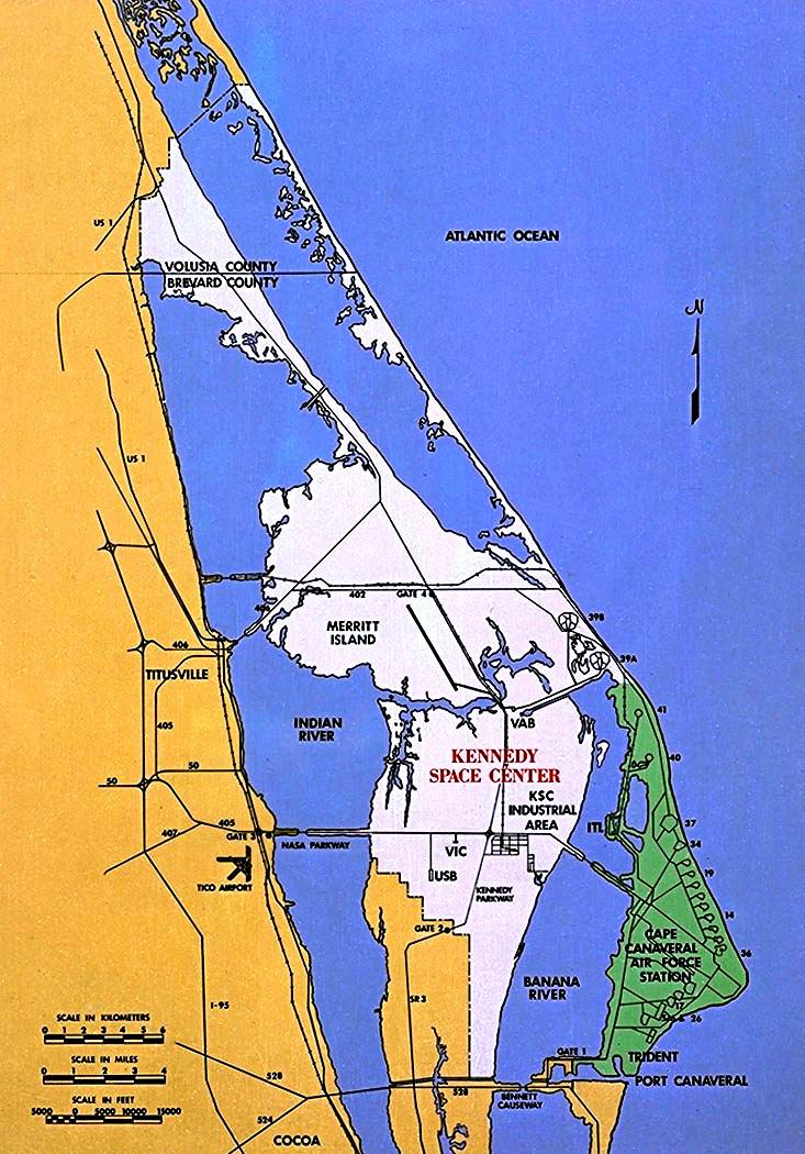 Map of North Merritt Island, Florida showing the proximity of Port Canaveral, Florida to US Navy Trident submarine base, USAF Canaveral Air Force Station and NASA Kennedy Space Center (Image credit: NASA)