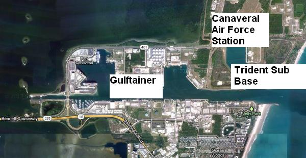 Map of Port Canaveral, Florida showing Gulftainer's area of operations, US Navy Trident submarine base and Canaveral Air Force Station.