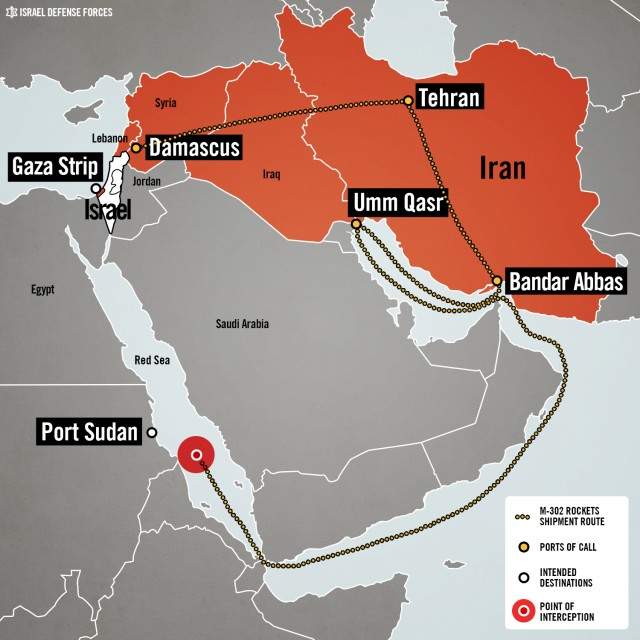 The course of the Iranian weapons shipment. (Image credit: Israel Defense Forces)
