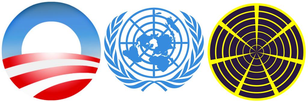 "Barack Obama 2008 campaign logo, United Nations emblem, Subud ""Seven Circle"" symbol. (Image credits: Wikimedia commons, UN, Wikimedia commons)"
