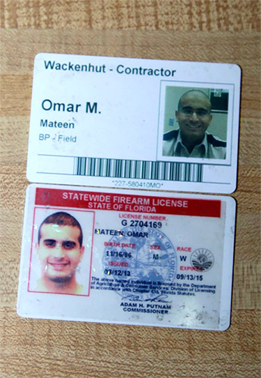 An image published by Infowars appears to show Omar Mateen's Wackenhut I.D. badge and an expired Florida firearms license.