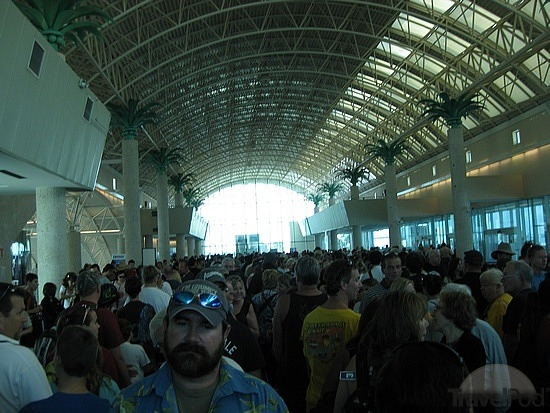PORT CANAVERAL, FL - Passengers wait inside one of Port Canaveral's cruise ship terminals.