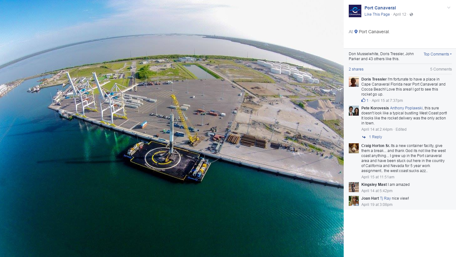 Port Canaveral Facebook GT USA SpaceX Barge 1400